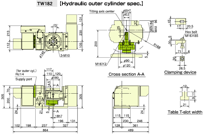 TW182 Hydraulic Outer Cylinder Specification