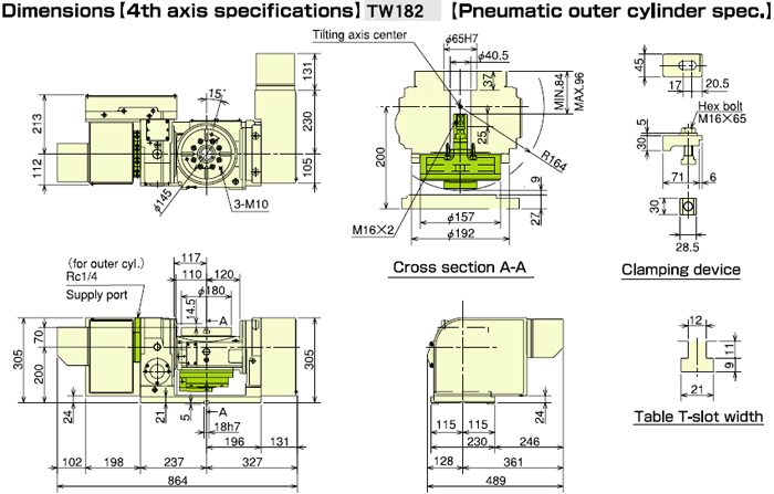 TW182 Pneumatic Outer Cylinder Specification